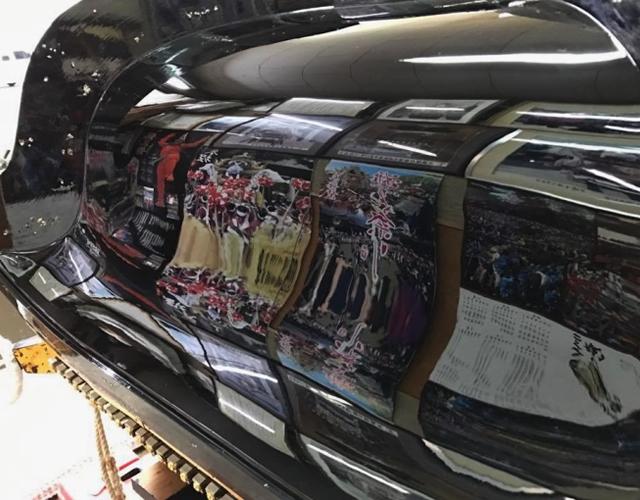 土山八幡神社 土山屋台<br/>屋根漆塗り替え01