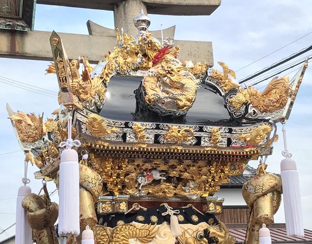 魚吹八幡神社 津市場北屋台<br/>屋根~高欄・泥台01